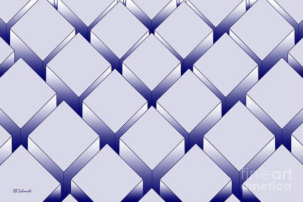 Digital Art - Rectangular Prisms - Blue Variation by E B Schmidt