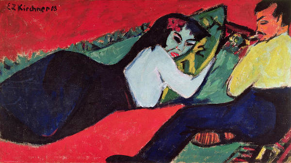 Expressionist Photograph - Recumbent Woman by Ernst Ludwig Kirchner