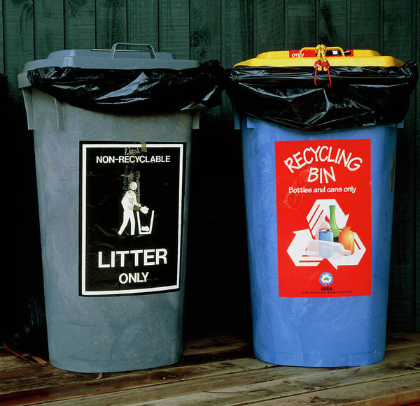Litter Photograph - Recycling Bin And Litter Bin by Simon Fraser/science Photo Library