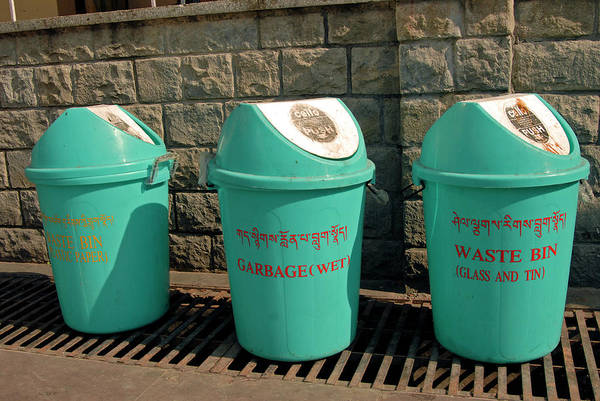 Wall Art - Photograph - Recycling Bins In A Street by Simon Fraser/science Photo Library