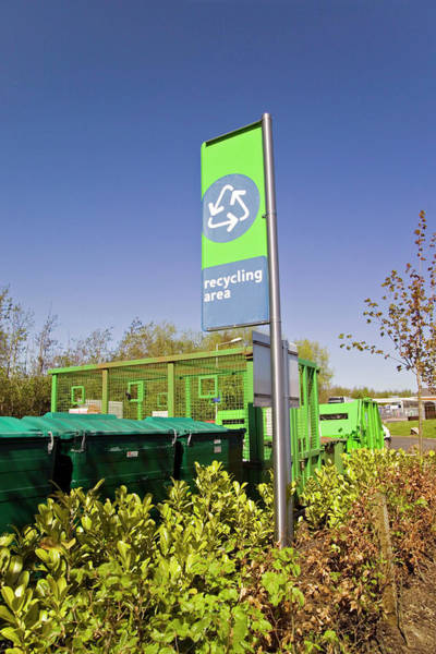 Recycling Collection Point Art Print by Simon Fraser/science Photo Library