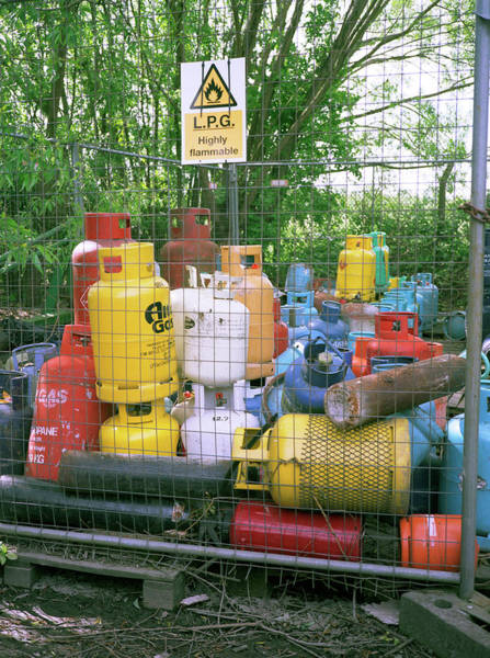 Liquify Photograph - Recycling Lpg Canisters by Robert Brook/science Photo Library