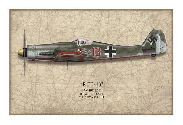 Tank Painting - Red 13 Focke-wulf Fw 190d - Map Background by Craig Tinder