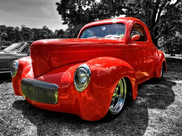 Photograph - Red '41 Willys Coupe 002 by Lance Vaughn