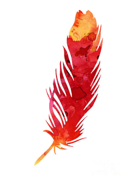 Feather Mixed Media - Red Abstract Feather Large Poster by Joanna Szmerdt