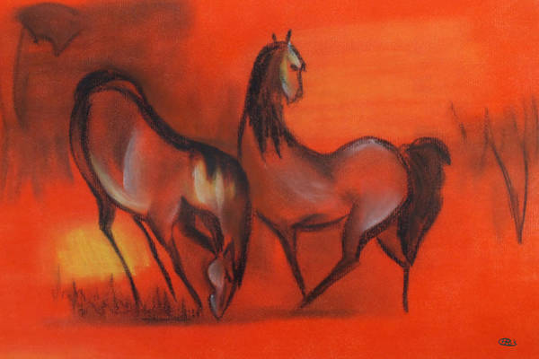 Photograph - Red Abstract Of 2 Horses by Chris McCullough