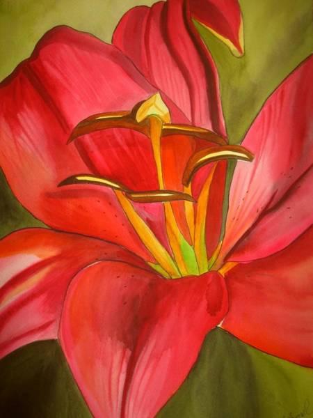 Red Alert Lily Art Print by Sacha Grossel