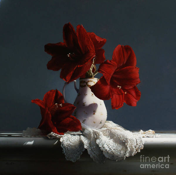 Wall Art - Painting - Red Amaryllis Flowers  by Lawrence Preston