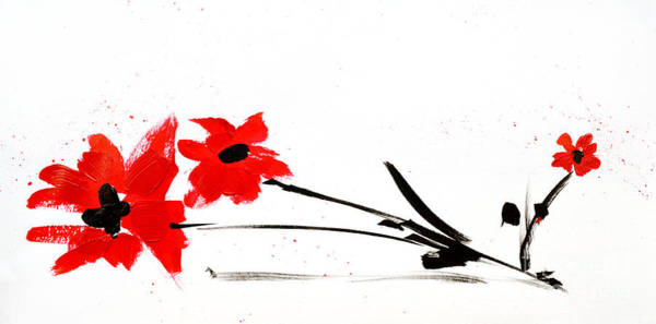 Painting - Red And Black Floral by Patricia Awapara