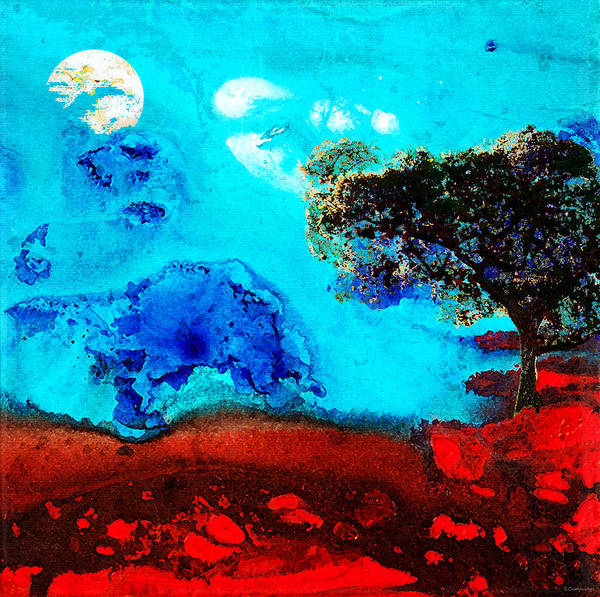 Red Moon Painting - Red And Blue Landscape By Sharon Cummings by Sharon Cummings