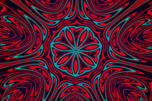 Photograph - Red And Blue Mandala by Peggy Collins