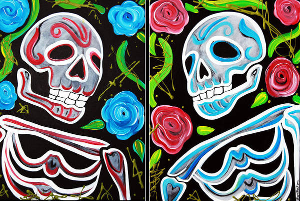 Wall Art - Painting - Red And Blue Skulls And Roses by Laura Barbosa