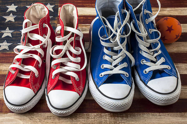 Wooden Shoe Photograph - Red And Blue Tennis Shoes by Garry Gay