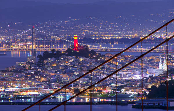Coit Tower Photograph - Red And Gold Coit Tower San Francisco by David Yu