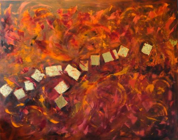 Wall Art - Painting - Red And Gold by Dagmar Helbig