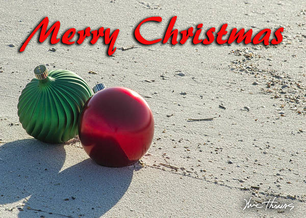 Digital Art - Red And Green Bulbs On The Beach by Michael Thomas