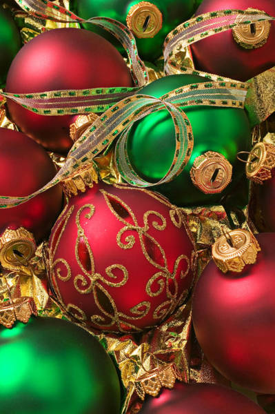 Fancy Photograph - Red And Green Christmas Ornaments by Garry Gay