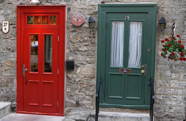Photograph - Red And Green Doors Of Quebec by Juergen Roth
