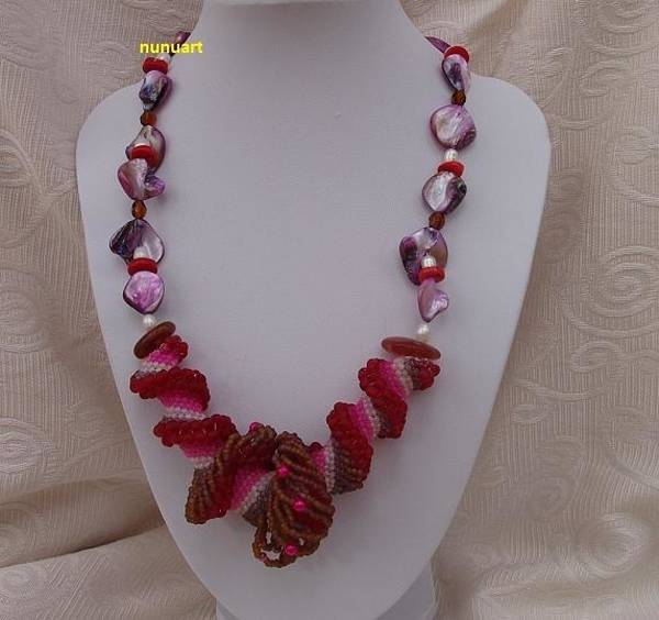 Wall Art - Jewelry - Red And Pink Dutch Spiral With Coral Pearl And Shell Beads by Nurit Tzubery