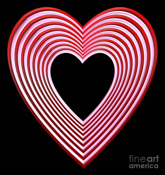 Digital Art - Red And Pink Heart On Black by Rose Santuci-Sofranko