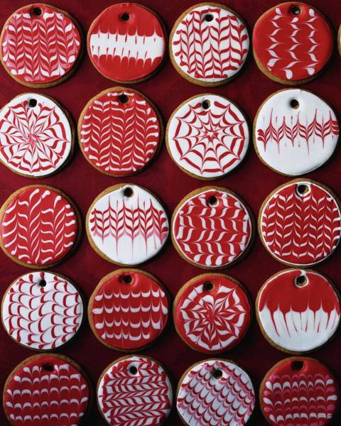Sweet Photograph - Red And White Christmas Cookies by Romulo Yanes