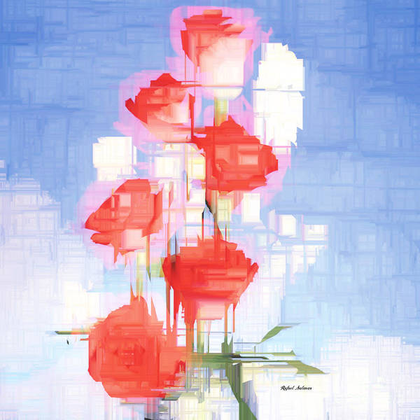 Digital Art - Red And White Flowers by Rafael Salazar