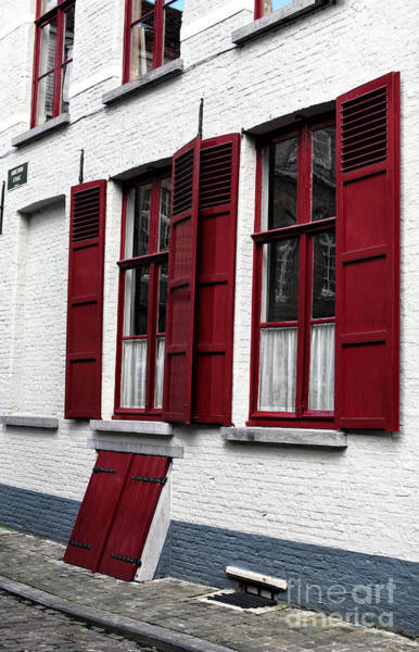 Wall Art - Photograph - Red And White In Bruges by John Rizzuto
