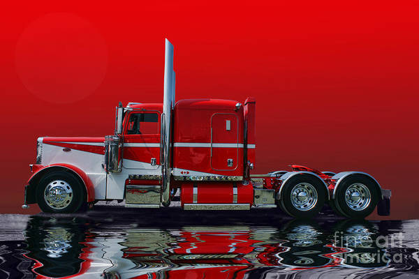 Wall Art - Photograph - Red And White Peterbilt Abstract by Randy Harris