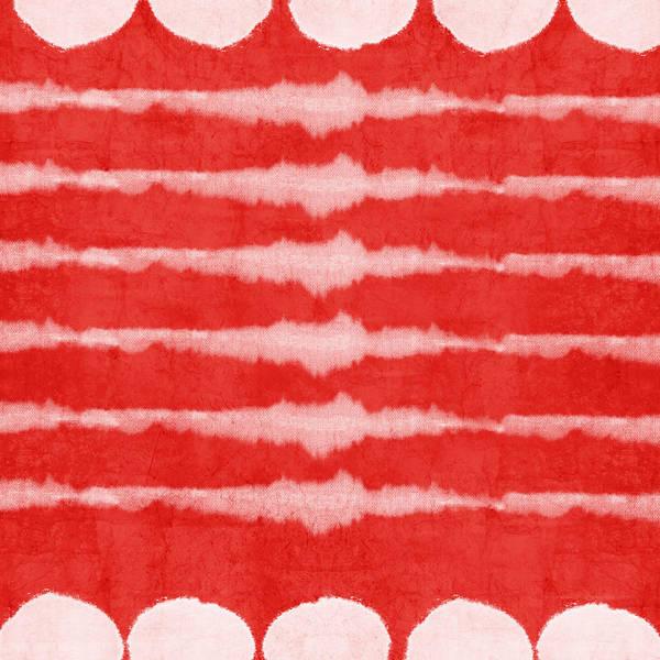 Painting - Red And White Shibori Design by Linda Woods