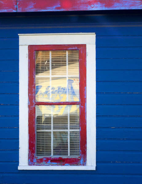 Photograph - Red And White Window In Blue Wall by Lynn Hansen