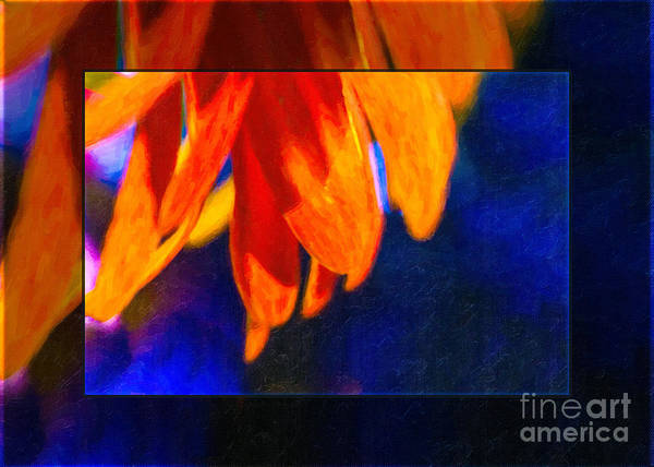 Painting - Red And Yellow Bloom In A Blue Paradise by Omaste Witkowski