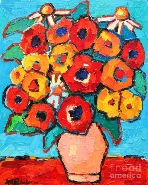 Painting - Red And Yellow Poppies And Some Daisies by Ana Maria Edulescu