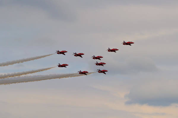 Photograph - Red Arrows - Concorde Formation by Scott Lyons