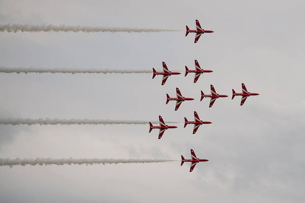 Photograph - Red Arrows - Flanker Formation by Scott Lyons