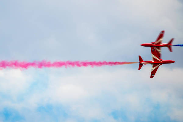 Photograph - Red Arrows - Opposing Barrel Roll by Scott Lyons