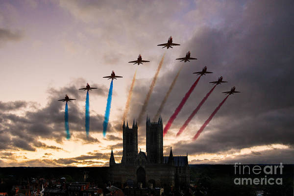 Arrow Digital Art - Red Arrows Over Lincoln Cathedral by J Biggadike