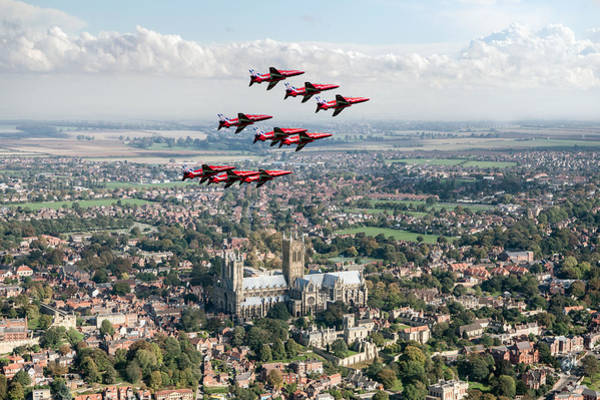 Digital Art - Red Arrows Over Lincoln by Gary Eason