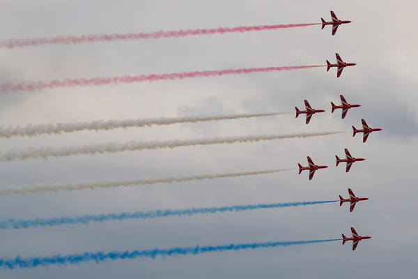 Photograph - Red Arrows - Phoenix Formation by Scott Lyons