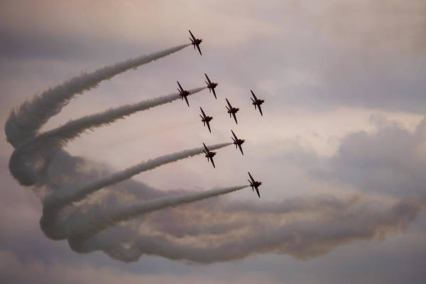Photograph - Red Arrows - Preparing For Flanker Formation by Scott Lyons