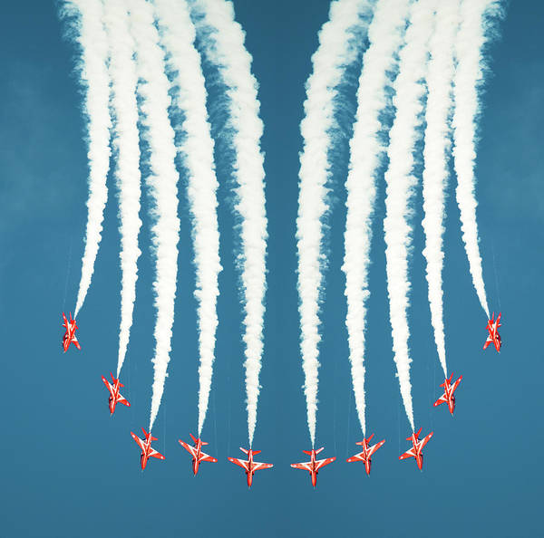 Coordination Wall Art - Photograph - Red Arrows Symmetry Burst by Steve Fleming