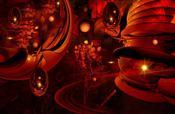 Fractal Landscape Digital Art - Red As Yore Neck Too by Phil Sadler