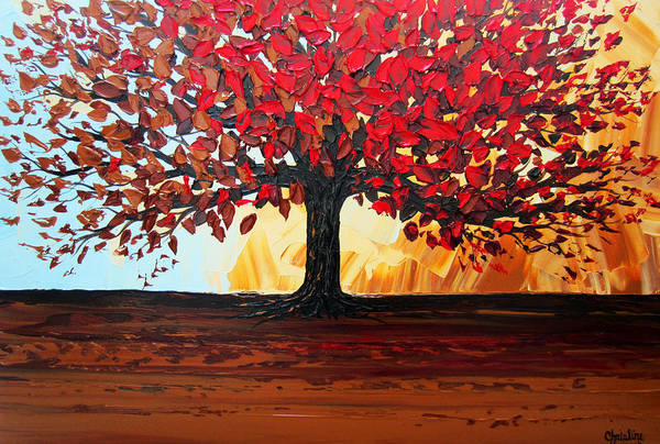 Wall Art - Painting - Red Autumn Tree Of Life by Christine Bell