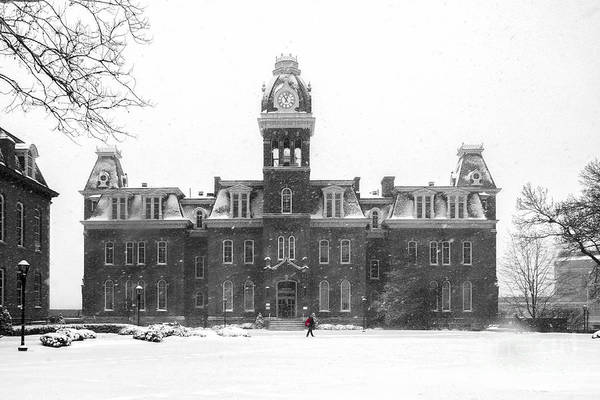 Photograph - Red Backpack In Snow Storm Woodburn Hall by Dan Friend