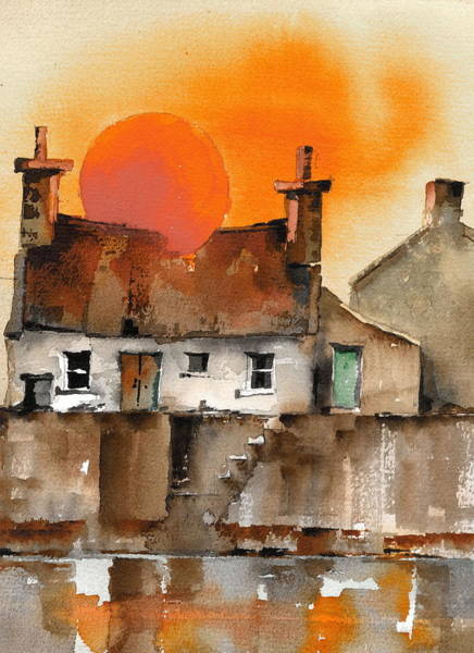 Galway Painting - Red Ball Sunset by Val Byrne