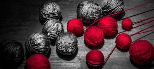 Crochet Digital Art - Red Balls Of Thread by Sotiris Filippou