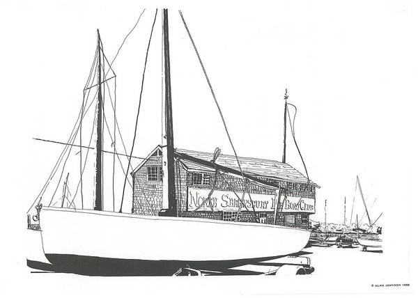 Drawing - Red Bank Boat Club by Alan Johnson