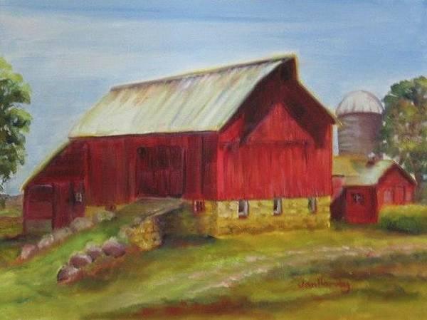 Wall Art - Painting - Red Barn At The Crofts by Jan Harvey