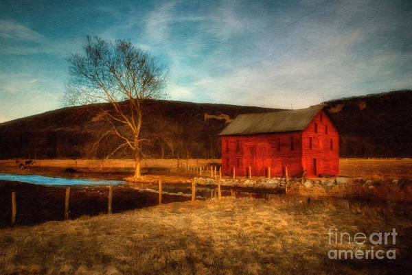 Wall Art - Photograph - Red Barn At Twilight by Lois Bryan
