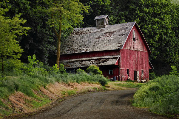 Wood Siding Wall Art - Photograph - Red Barn - County Road  by Nikolyn McDonald