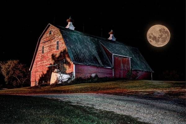 Photograph - Red Barn Full Moon by David Matthews